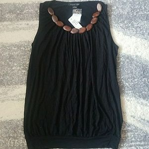 Brown Beaded Neck Black Top sz S NEW